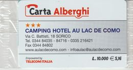 49-Carta Alberghii-Camping Hotel Au Lac De Como-Sorico-Nuova. In Confezione Originale - Italy