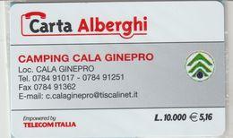 52-Carta Alberghii-Camping Cala Ginepro-Nuova. In Confezione Originale - Italy