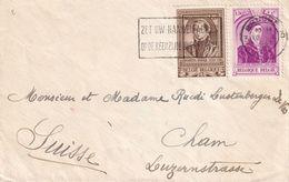DDX 375 --  Enveloppe TP 575 Et 578 Princes Européens - BRUGGE 1941 Vers CHAM Suisse - Censure Allemande Francfort - Belgium