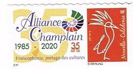 Nouvelle Caledonie Caledonia Timbre Personnalise Timbre A Moi Prive Alliance Champlain Francophonie Cagou 2020 TB - Neukaledonien