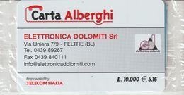 60-Carta Alberghii-Elettronica Dolomiti-Feltre (BL)-Nuova In Confezione Originale - Italy