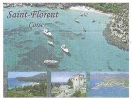 SAINT FLORENT CORSE - VUE DE LA VILLE, MONTAGNE, MER, BATEAUX - PAP ENTIER POSTAL FLAMME CAMPO DELL ORO CLC 2010 - Holidays & Tourism
