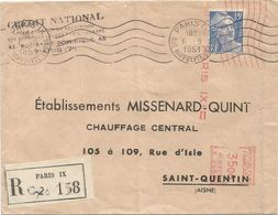 GANDON 15FR BLEU PARIS IX 6.8.1951 LETTRE REC + EMA 35.00 - 1945-54 Marianne Of Gandon