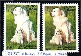YT N° 3285 - Chien Blanc + Normal - Neufs ** - Errors & Oddities