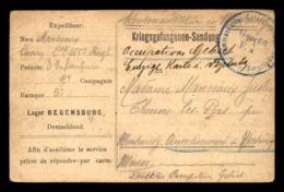 GUERRE 14/18 - CARTE DE FRANCHISE MILITAIRE - LAGER REGENSBURG - KRIEGSGEFANGENENSENDUNG - VOIR L'ETAT - Cartes De Franchise Militaire