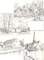 Herenthout : 4 Tekeningen Van E. Steylaerts ( Watermolen , Prinsenhof , 't Schipke , Toreke Kapel ) --- 4 Kaarten - Herenthout