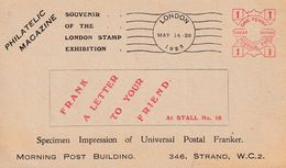 DDX 382 --  LONDON STAMP EXHIBITION 1923 - Souvenir Card Of The Philatelic Magazine - First FRANK Specimen In UK - Philatelic Exhibitions
