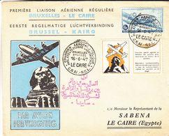 Belgique - Lettre De 1947 ° - Oblit Bruxelles - Courrier Aérophilatélique - 1er Vol Bruxelles Le Caire - Avec Vigette - Belgium