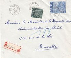 Belgique - Lettre Recom De 1949 ° - Oblit Franière - Exp Vers Bruxelles - Textile - Broderies - - Belgium