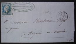 Le Bugue Mars 1863 Dordogne GC 669 J Lafon De Fongaufier Fils, Huiles Grains Au Bugues & Belvès Pour Mézières En Brenne - 1849-1876: Classic Period
