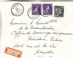 Belgique - Lettre Recom De 1949 ° - Oblit Libin - Exp Vers Bruxelles - Broderies - - Belgium