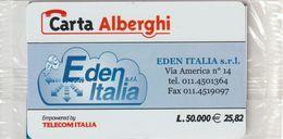 72-Carta Alberghi-Eden Italia E.25,82-Nuova In Confezione Originale - Italy