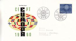 Europa - Idées Européennes - Norvège - Lettre De 1960 - Oblit Oslo - Drapeaux - Europa-CEPT