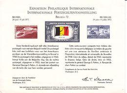 Etats Unis - Document De 1972 ° - Expo Belgica 72 - Pavillon Américain - Général Patton - Drapeaux - Taille Douce - United States