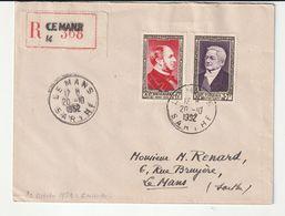 Lettre Recommandée Avec Série Personnage Célèbres N°934/35, Le Mans 1952, (à Noter D'autres Lettres Diverses  à Venir) - Lettres & Documents