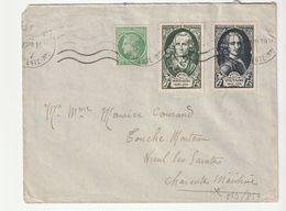 Lettre Avec  Personnage Célèbres N°853/4 + Cérès, 1949 (à Noter D'autres Lettres Diverses  à Venir) - France