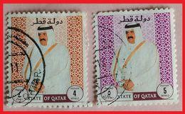 110.QATAR (02 DIFF) USED STAMP SHEIKH AHMAD BIN KHALIFA  . - Qatar