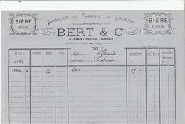 Cantal - Saint Flour - Bert Et Cie - Brasserie Et Fabrique De Limonade - Bières 1884 - France