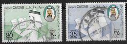 QATAR 1978-International Literacy Day-Man Reading-S.G. 648-649 Set Of 2- - Qatar