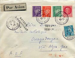 1942 Relations Suspendues, Retour Envoyeur, Lettre LYON - OUAGADOUGOU AOF Via ALGER - Oorlog 1939-45