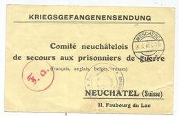 GERMANY MESCHEDE 24.6.1916 POSTKARTE KRIEGS POUR COMITE NEUCHATEL SUISSE PRISONNIERS DE GUERRE SERVCE DES PAQUETS - Allemagne