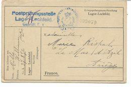 -WW1-carte Lettre De Prisonnier Français Au Camp De LECHFELD Avec Censure En 1918 Vers LE MAS D'AZIL  ARIEGE - Guerre De 1914-18