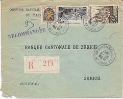 LETTRE RECOMMANDEE POUR LA SUISSE 1952 AVEC 3 TIMBRES PERFORES C N E - COMPTOIR NATIONAL D'ESCOMPTE DE PARIS - - France