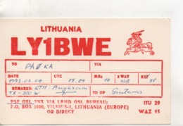 Cpa.Cartes QSL.LY1BWE.Lithuania.1993.to PAOKA - Radio Amatoriale