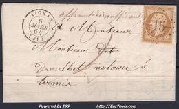 FRANCE EMPIRE N° 13B SUR LETTRE POUR RISCLE GC 12 AIGNAN GERS DU 06/03/1864 - 1862 Napoleon III