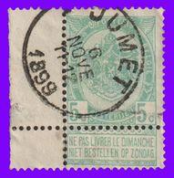 "COB N° 56 - Bord De Feuille - Belle Oblitération ""JUMET"" - 1893-1900 Thin Beard"