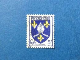 1954 FRANCIA FRANCE R FRANCAISE ORDINARIO PRIVINCIA SAINTONGE 5 F FRANCOBOLLO USATO STAMP USED - France