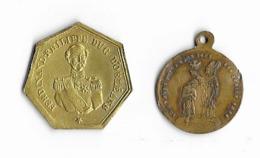 Deux Petites Médailles En Cuivre Et Laiton  -  1842 Et 1896 - France