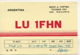 Cpa.Cartes QSL.Argentina.LU 1FHN.1980.Mario G Fortino .to PAOKA - Radio Amatoriale