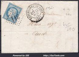 FRANCE CERES N° 60 SUR LETTRE POUR AUCH GC 311 BARCELONNE DU GERS GERS DU 22/11/1871 - 1871-1875 Cérès