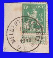 """COB N° 110 / Fragment - Belle Oblitération """"DR MELDERT (BRABANT)"""" (Pas Courant!) - 1912 Pellens"""