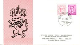 14169011 Belgique  19690217 Bx; Roi Baudouin Lunettes 3bef + Lion Héraldique 1bef Des Carnets B1+B2; 4 Fdc Cob1485djke - FDC