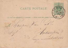 BELGIQUE  1880   ENTIER POSTAL/GANZSACHE/POSTAL STATIONARY CARTE DE WETTEREN - Stamped Stationery