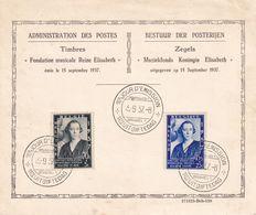 BELGIQUE 1937 CARTE SOUVENIR 1er JOUR D'EMISSION - Belgium