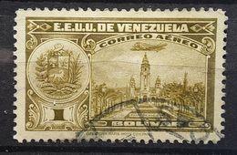 VENEZUELA 1938 Aereo Airmail Poste Aérienne , Panteon Nacional Caracas  Yvert 86, 1 Bolivar Olive Obl TB - Venezuela