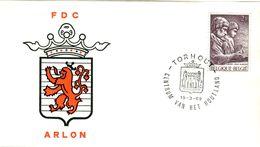 14169017 Belgique  19690315 Torhout; Arlon, Voyageurs Romains, Sculpture, Armoiries Sur ◙blit ; Fdc Cob1486 - FDC