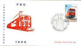 14169026 Belgique  19690413 Anderlues; Journée Du Timbre, Train Postal ; Fdc Cob1488 - FDC
