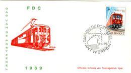 14169027 Belgique  19690413 Antwerpen; Journée Du Timbre, Train Postal ; Fdc Cob1488 - FDC