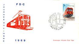 14169028 Belgique  19690413 Auvelais; Journée Du Timbre, Train Postal ; Fdc Cob1488 - FDC