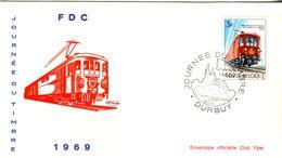 14169031 Belgique  19690413 Durbuy; Journée Du Timbre, Train Postal ; Fdc Cob1488 - FDC