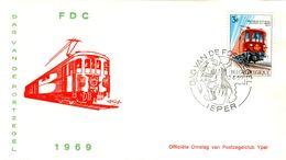 14169032 Belgique  19690413 Ieper; Journée Du Timbre, Train Postal ; Fdc Cob1488 - FDC