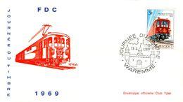 14169034 Belgique  19690413 Waremme; Journée Du Timbre, Train Postal ; Fdc Cob1488 - FDC