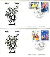 14169046 Belgique  19690531 Jodoigne; UNICEF, Dessins D'enfants; 2 Fdc Cob1492-95 - FDC