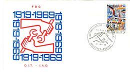 14169056 Belgique  19690531 Bx; OIT, Travail, Fd Léger, Mains; Fdc Cob1497 - FDC