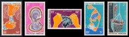 POLYNESIE 1970 - Yv. PA 34 35 36 37 Et 38 **   Cote= 41,90 EUR - Huitre Perlière (5 Val.)  ..Réf.POL25141 - Oblitérés