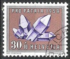 """Schweiz Suisse Pro Patria 1959: """"Amethyst"""" Zu 94 Mi 677 Yv 628 Mit Eck-Stempel Von ZÜRICH (Zu CHF 3.00) - Minerals"""